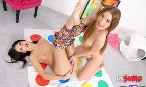 Nubile Lesbian Stepsisters get Horny Playing Twister