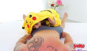 Cute Petite Babe in a Pikachu Suit Sits in your Dick