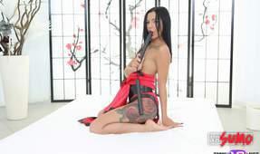 Sexy Asian Nunchuck Dildo Fuck