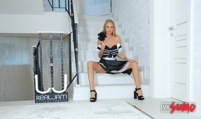 Housemaid Gets Horny on the Staircase