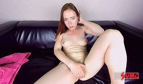 Casting: Busty Czech Redhead Plays with Herself on the Couch