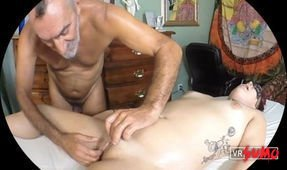 Daddy Russ gives Little Fox a Vulva Massage